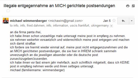 illegale Postannahme Panta Rhei